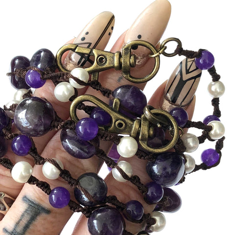 Amethyst & Pearl Macramé Mask Holder, stone beads mask leash
