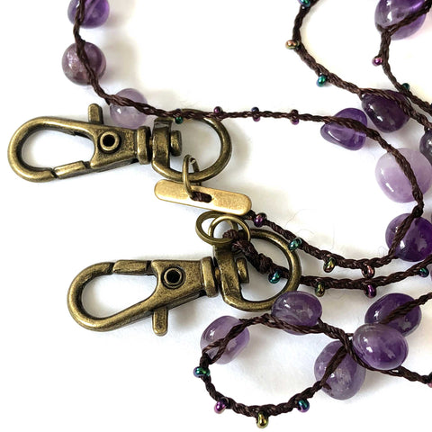 Amethyst & Seed Bead Mask Holder, stone beads mask leash
