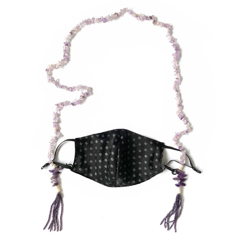 Amethyst Stone Chip & Freshwater Pearl Beaded Mask Chain