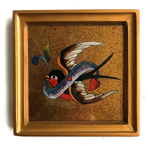 Hand Painted Tattoo Flash Framed Folk Art, Fair Trade