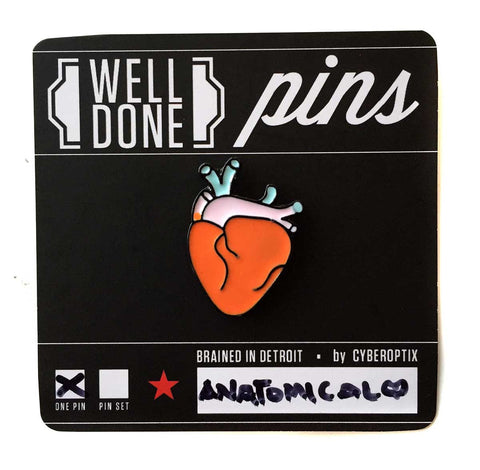 Anatomical Heart Enamel Pin, Well Done Goods