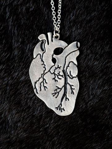 Anatomical Heart Silver Necklace, Well Done Goods