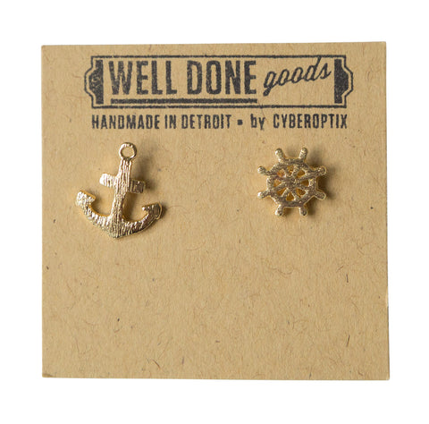 Anchor & Helm Gold Stud Earrings, Well Done Goods