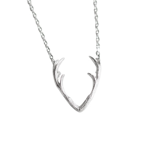 Antler Pendant Necklace, Silver Delicate Necklace, by Well Done Goods