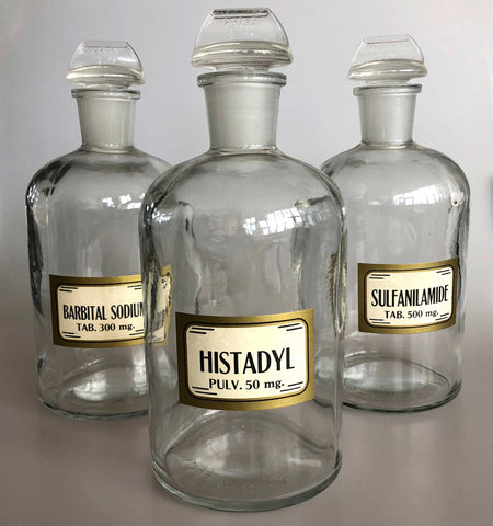 Apothecary Bottles, Large Clear Lab Glass Storage Containers