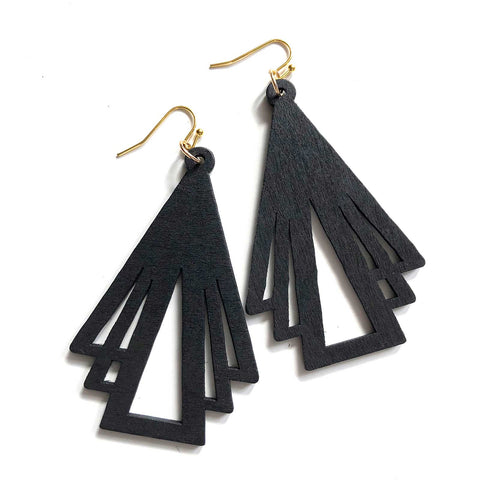 Art Deco Triangles, Laser Cut Geometric Wood Drop Earrings