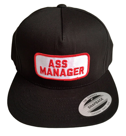 245a8467 Ass Manager Black Snapback Cap, Vintage Patch Hat, Well Done Goods
