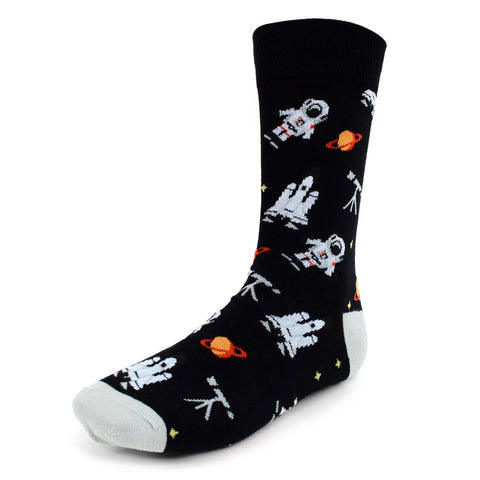 Astronaut Socks, black. Men's Fancy Socks, by Parquet