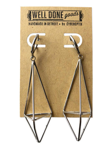 Long Asymmetrical Geometric Earrings, Silver plate. 3D Double Pyramid, Well Done Goods