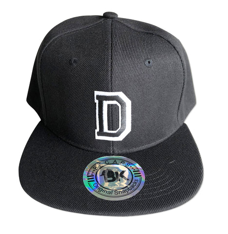 Athletic D Snapback Cap, Black