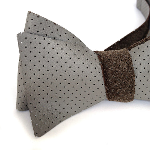 Perforated Automotive Leather Bow Tie, Dove Grey