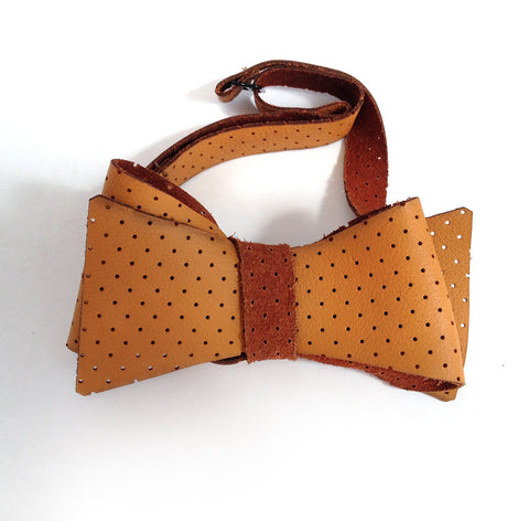 Perforated Automotive Leather Bow Tie, Burnt Orange