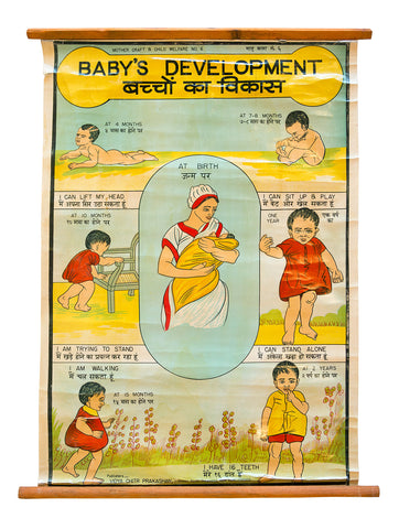 Vintage Indian Educational Poster: Baby's Development, Well Done Goods