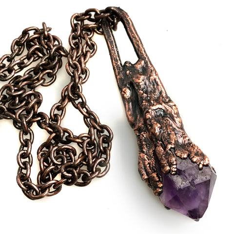 Amethyst Root Pendant, Electroformed Copper Necklace