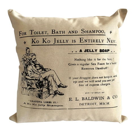 Baldwin and Co. Jelly Soap Throw Pillow, Vintage Detroit Advertising Print, Well Done Goods