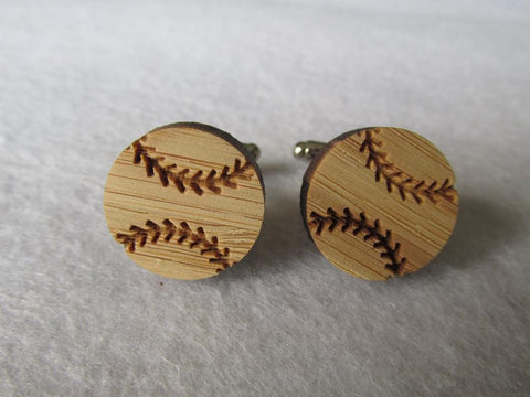 Baseball Bamboo Wood Cufflinks, Well Done Goods