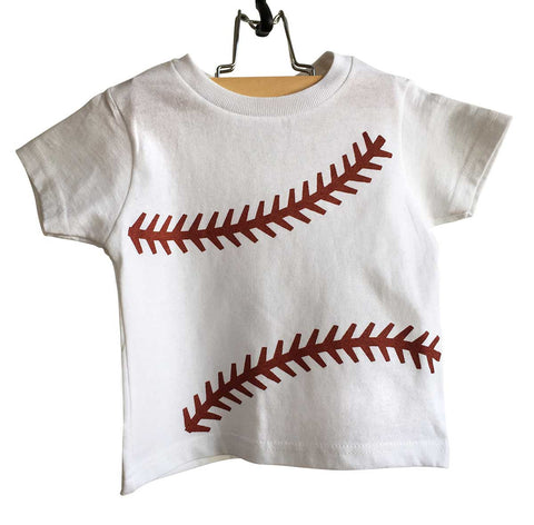 Baseball Stitching Toddler T-Shirt, rust print on white. Well Done Goods