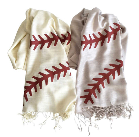 Baseball Stitching Scarves. Silkscreened pashmina, by Cyberoptix