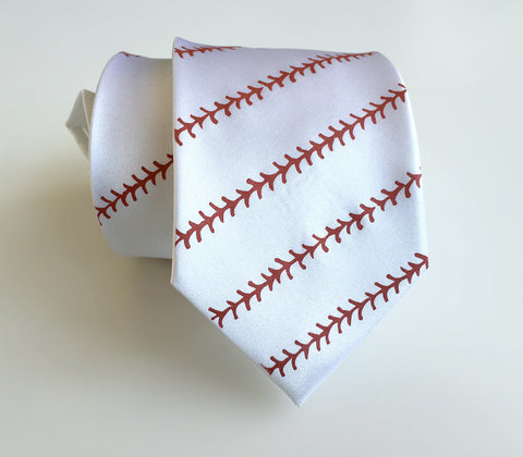 Baseball Stitching Printed Necktie, white. By Cyberoptix