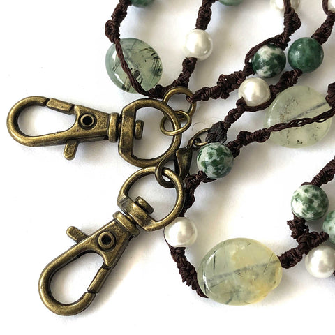 Tree Agate, Prehnite & Pearl Macramé Mask Holder, stone beaded mask leash