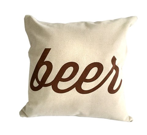 Beer Throw Pillow, Script Print, silkscreened natural cotton. Well Done Goods by Cyberoptix