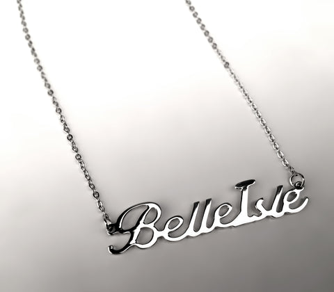 Belle Isle script necklace, silver, by Well Done Goods. Handmade in detroit