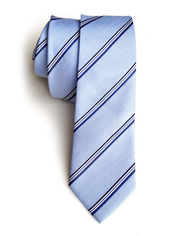 Belle Isle Blue Striped Silk + Linen Blend Woven Necktie