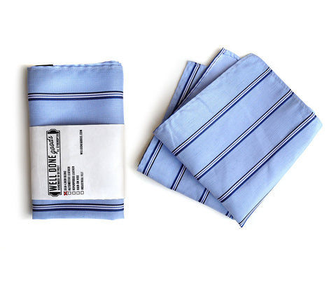 Belle Isle Blue Striped Linen + Silk Blend Woven Pocket Square