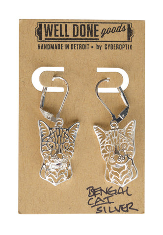 Bengal Cat Silver Dangle Earrings, Well Done Goods