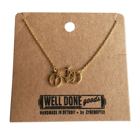 Bicycle Pendant Necklace, Gold Delicate Necklace, by Well Done Goods