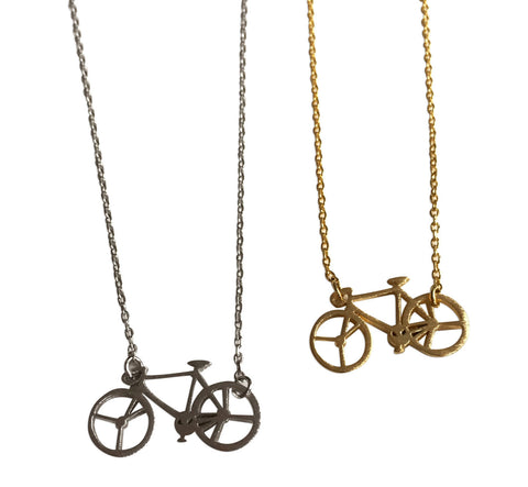 Bicycle Pendant Necklaces, silver & gold, by Well Done Goods