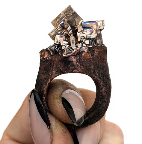 Bismuth Crystal Ring, Large Electroformed Copper Band - size 8