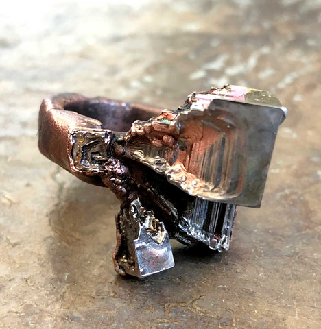 Bismuth Crystal Ring, Electroformed Copper Medium Band