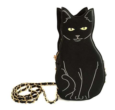 Black Cat 3d Purse, cat shaped bag, by Well Done Goods