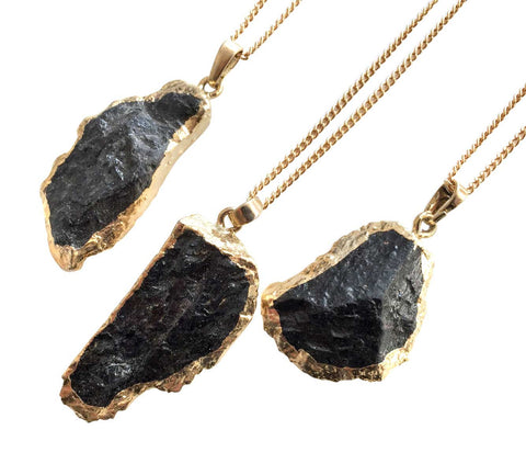 Black Tourmaline Freeform Slice Pendant, by Well Done Goods