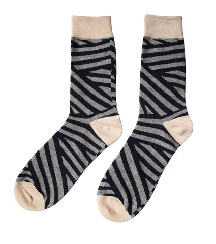 Grey/Black Wave Stripe Geometric Socks, Well Done Goods