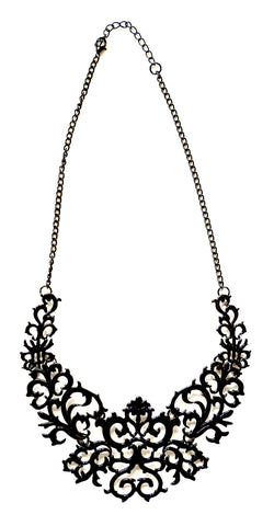 Black Metal Filigree Statement Necklace, Well Done Goods