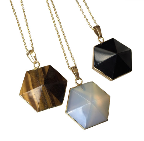 Hexagonal Crystal Pendant Necklace