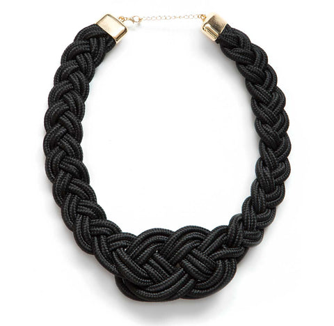 Sailor Knot Woven Rope Statement Necklace, Black. Well Done Goods