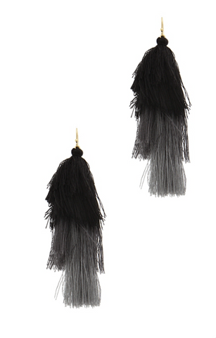 Black Variegated Tassel Earrings, Long Waterfall Drop. Well Done Goods