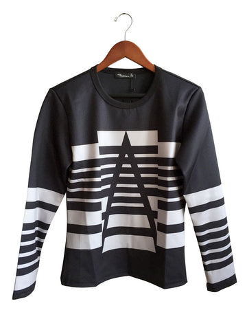 Black and White Geometric Lines Neoprene Shirt, by Well Done Goods