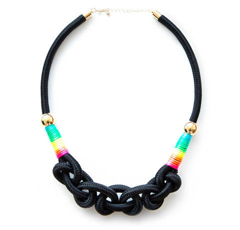 Rainbow Wrap Knotted Rope Statement Necklace, Black. Well Done Goods