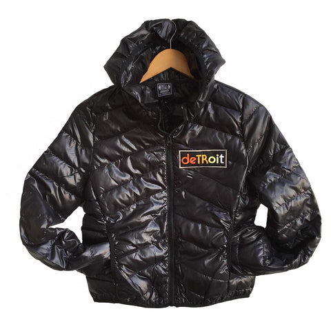 Detroit Rhythm Women's Jacket. Black Lightweight Bubble Down Coat, Well Done Goods