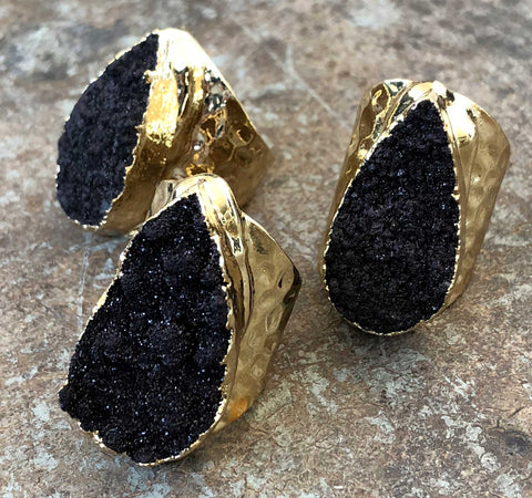 Black Calcite Druzy Adjustable Stone Rings, Hammered Gold