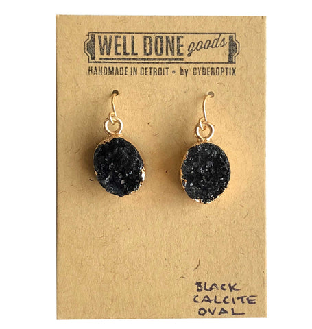 Oval Druzy Drop Earrings, Black Calcite