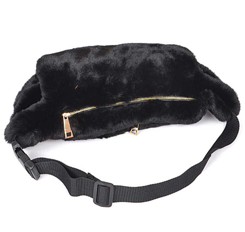 Fuzzy Hand Warmer Fanny Pack, Black Faux Fur