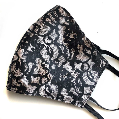 Lace Print Face Mask, washable fabric face cover. Black on champagne
