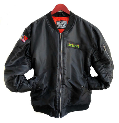 Peak Detroit Patch Black Satin MA-1 Flight Jacket, Well Done Goods