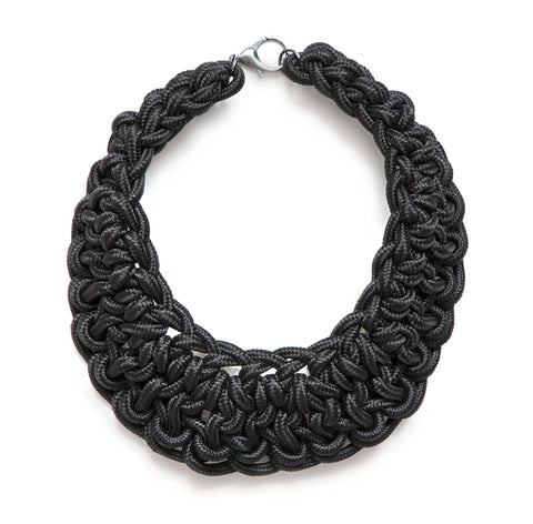 Oversize Bib Collar, woven black cotton rope. At Well Done Goods