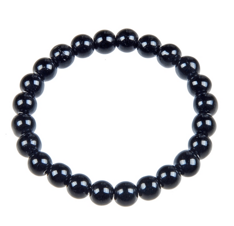 Black Onyx Bead Mala Bracelet, 10mm